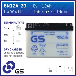 GS Battery 6N12A2D(DC)  (CASE 10)
