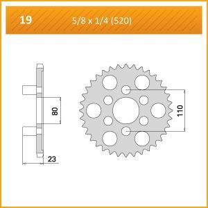 019-38 SPROCKET REAR(P)   END OF LINE