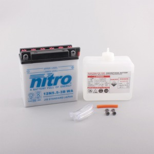 NITRO BATTERY 12N5.5-3B open with acid pack (CASE 6)