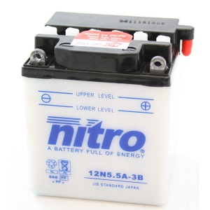 NITRO BATTERY 12N5.5A3B open with acid pack (CASE 4)